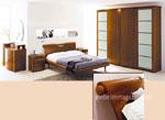 Обзавеждане за спалня по индивидуален проект с табла на леглото с извит край